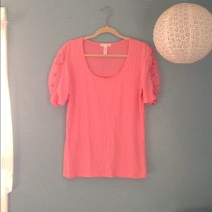 Ambiance Apparel Rose Pink Lace 3/4 Sleeve Top